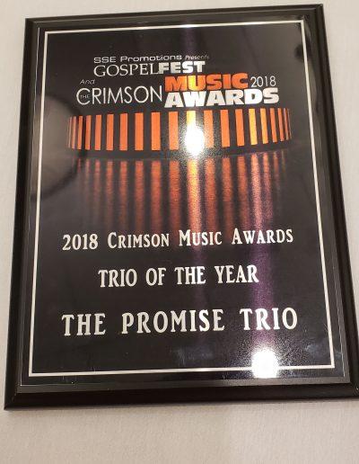 The Promise Trio Crimson Music Awards Trio of the Year 2018